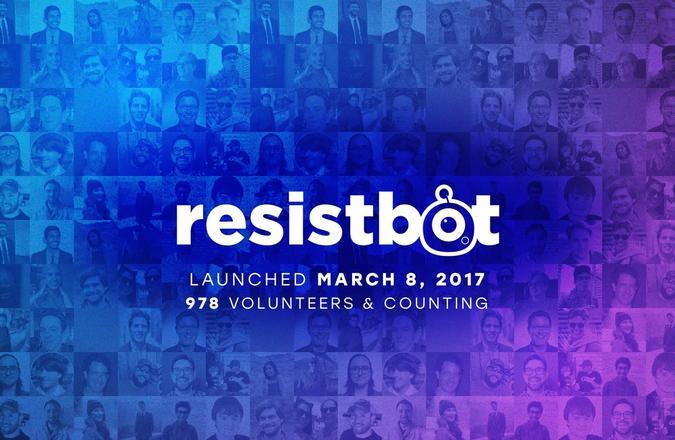 Resistbot logo with volunteer photos