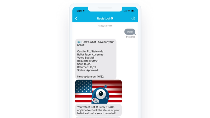 Image of iPhone using Resistbot tracking feature