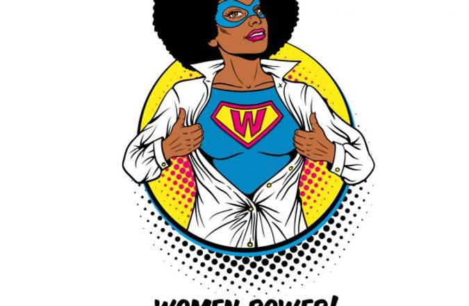 """Africa-American women with """"Woman Power"""" shirt."""