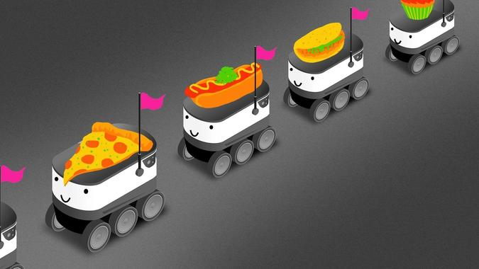 Train of robotic cars hauling food