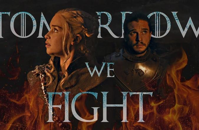 """Game of Thrones styled text saying """"Tomorrow We Fight"""""""
