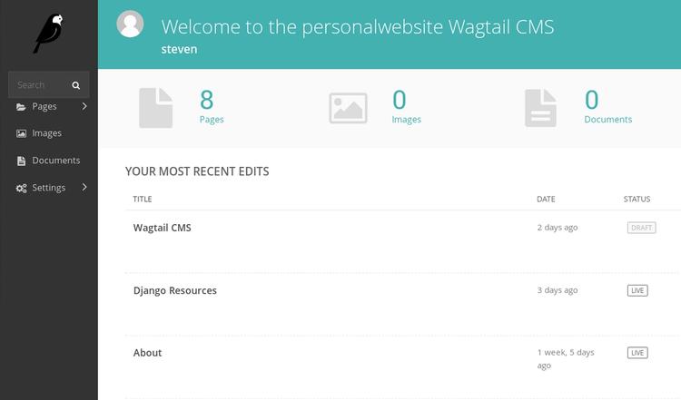 Wagtail CMS dashboard