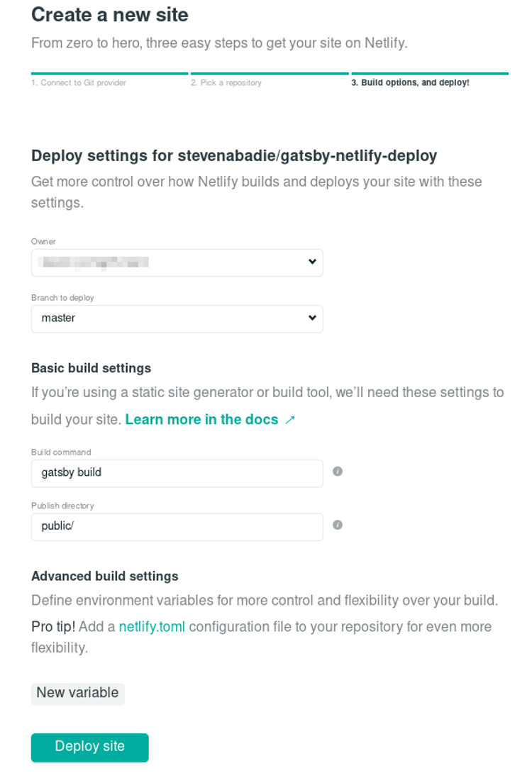 Netlify new site deploy settings