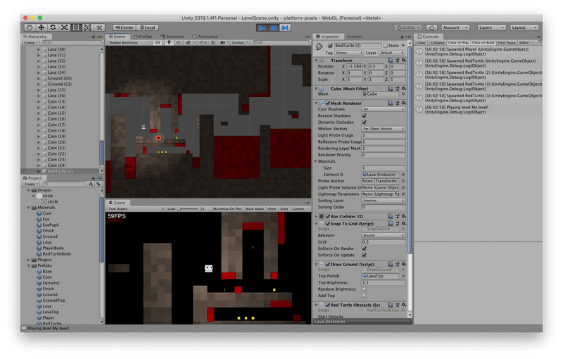 Working on the game within Unity
