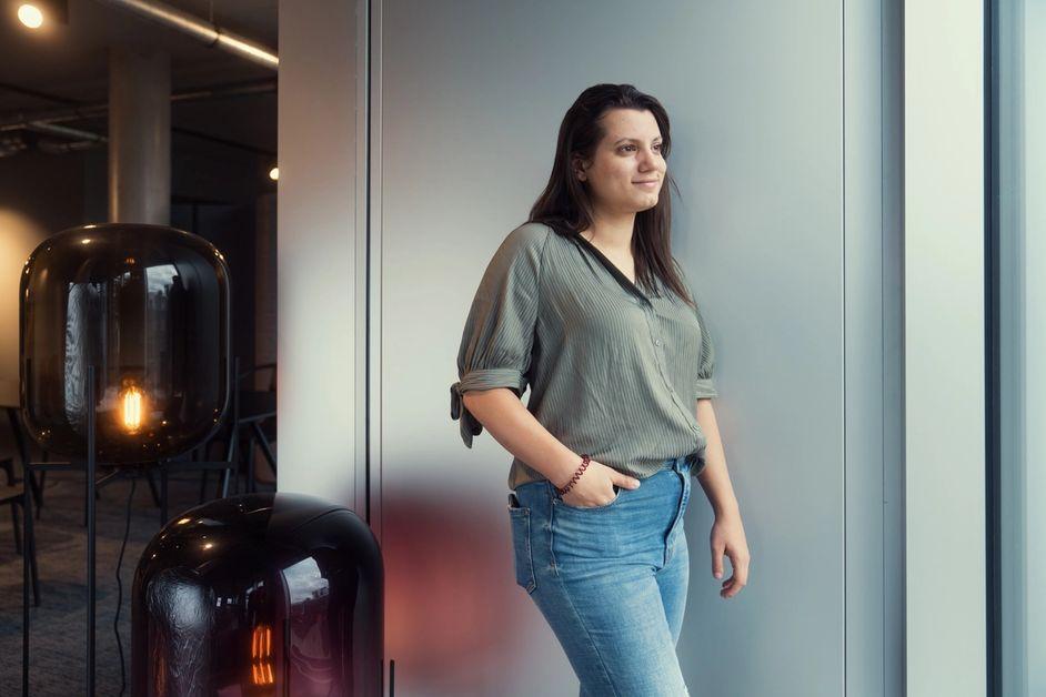 Debora in the Office walking