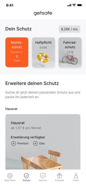 Getsafe app preview - Start Screen
