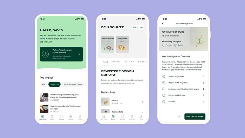 Drei Screens aus der Getsafe App
