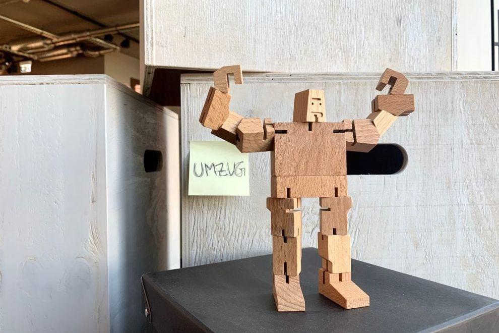 A wooden robot