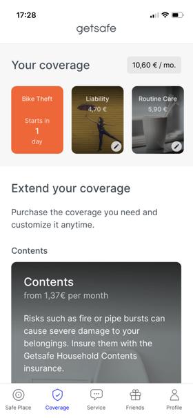 Getsafe's app preview - Start Screen