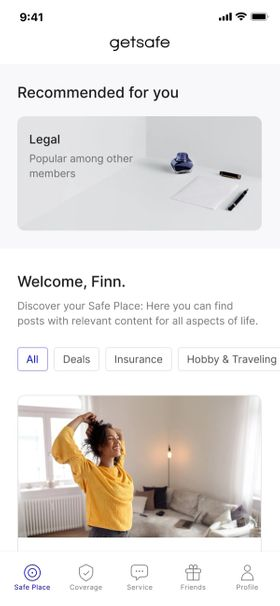 Getsafe's app preview - Safe Place