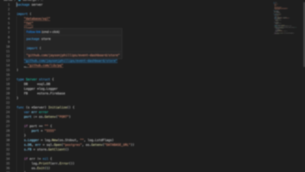 Blurred screenshot of golang code in VS Code