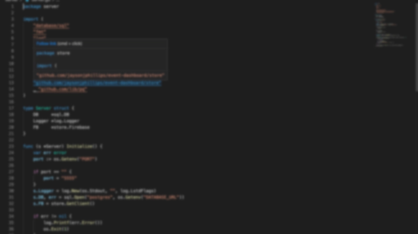 Blurred screenshot of golang code
