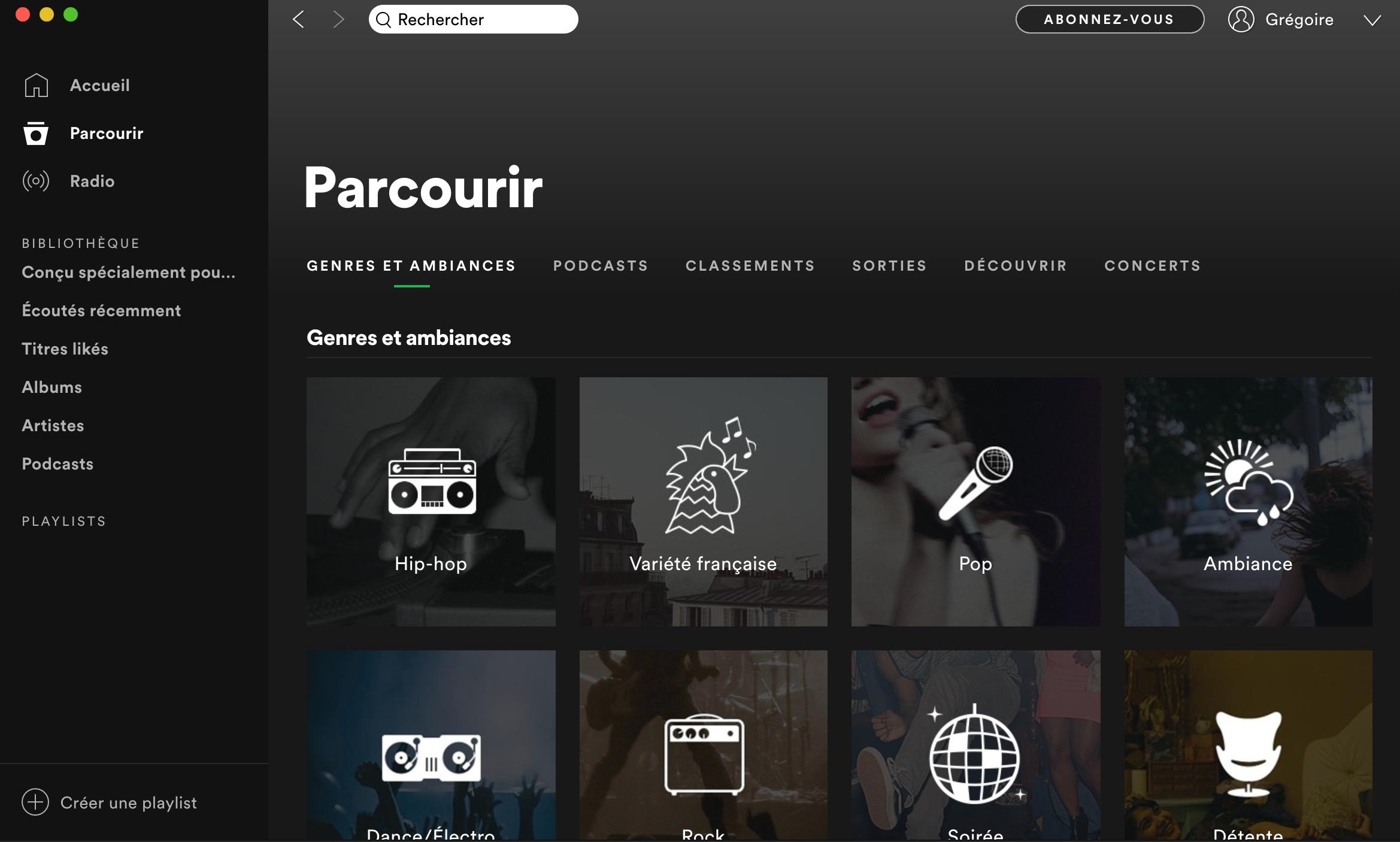 Catégories Spotify