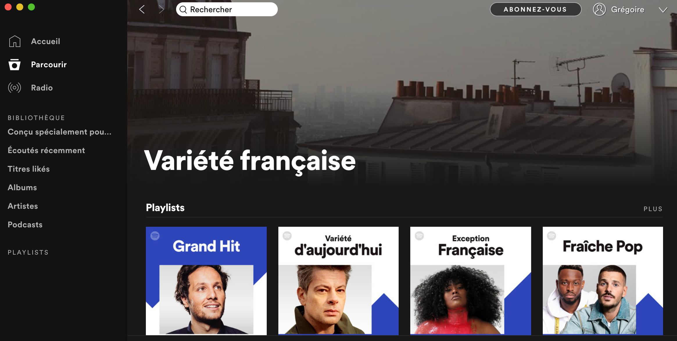 Catégorie Variété française Spotify