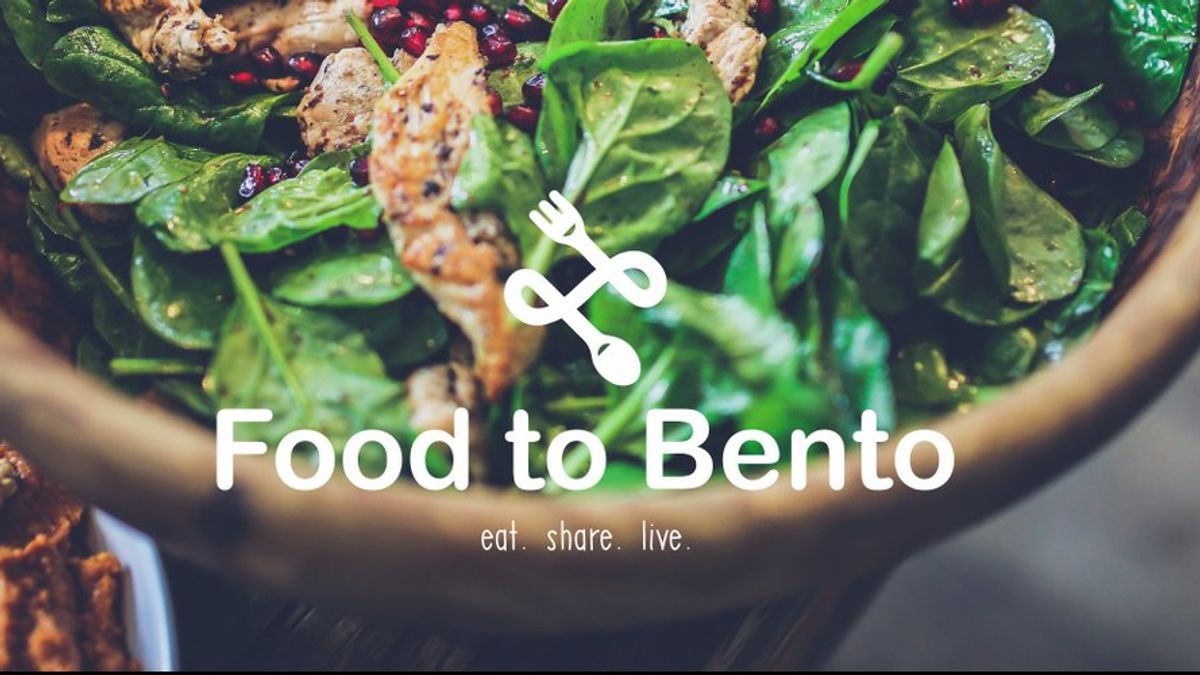 Healthy food plate with the food to bento logo
