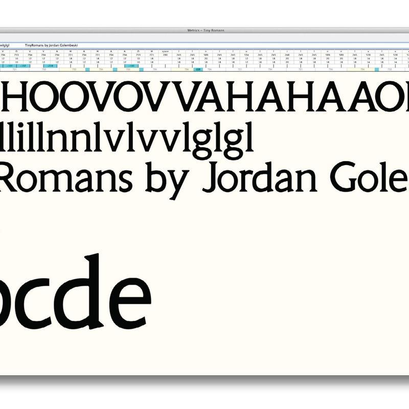 5360D Golembeski: Tiny Romans font metrics