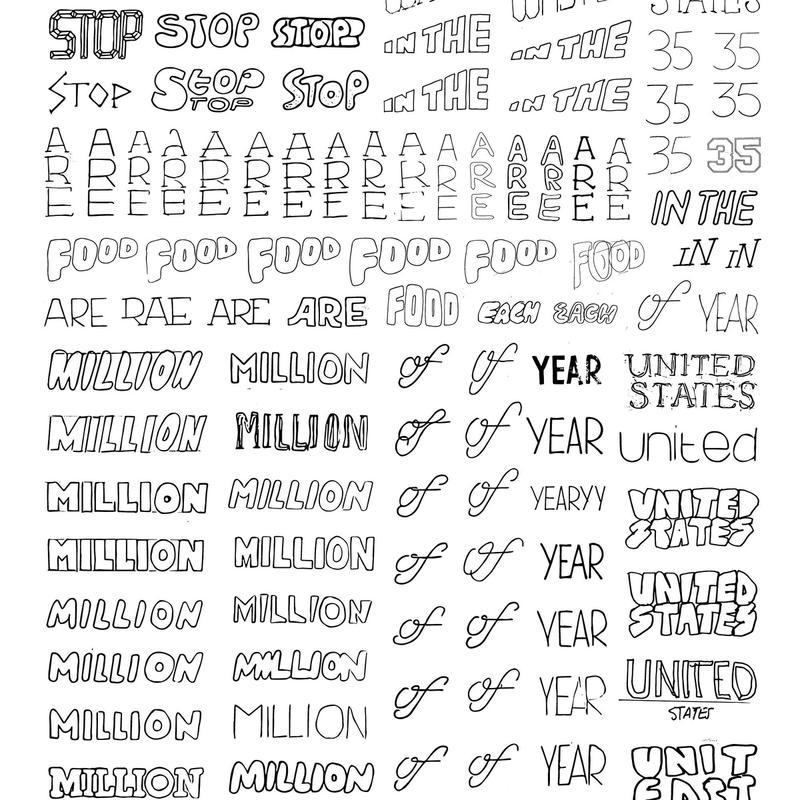 Trey Holt: Food Waste Poster: lettering sketches (12/17/17)