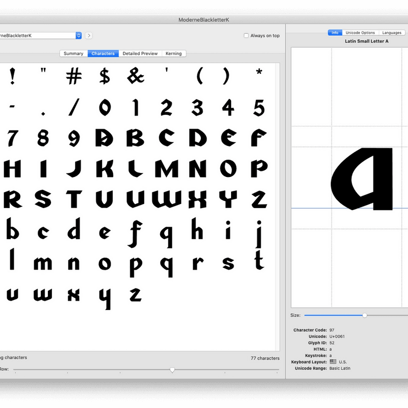 Xie's Modern Blackletter #charset FEX