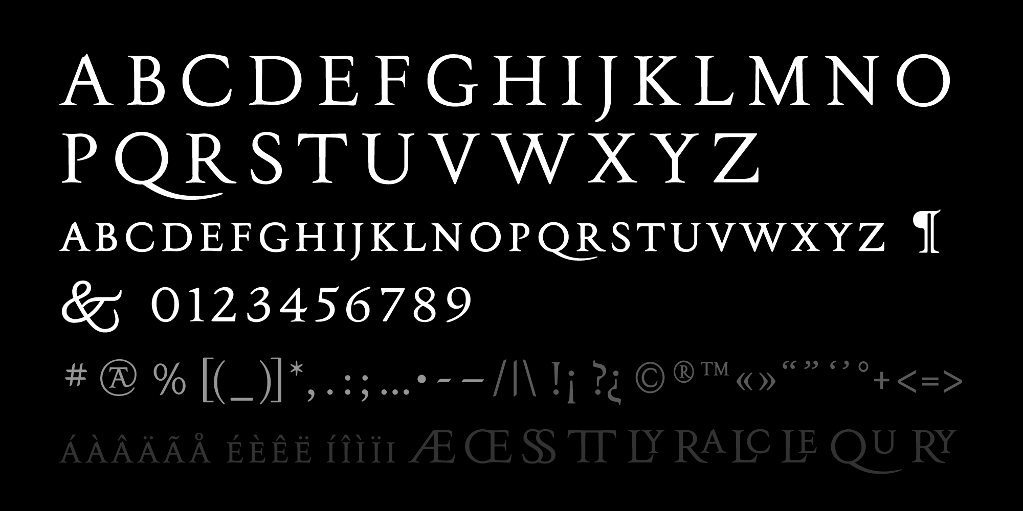 Sansepolcro font charset