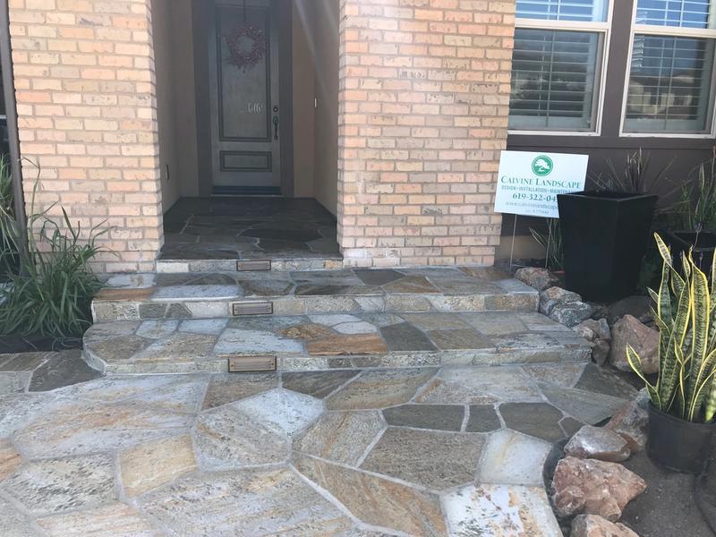residential flagstone entrance doorway landscaping