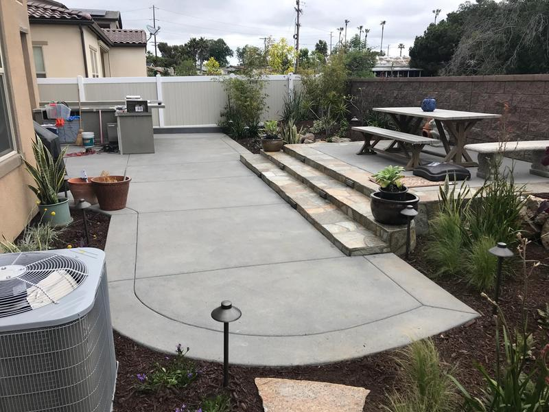 custom backyard concrete patio