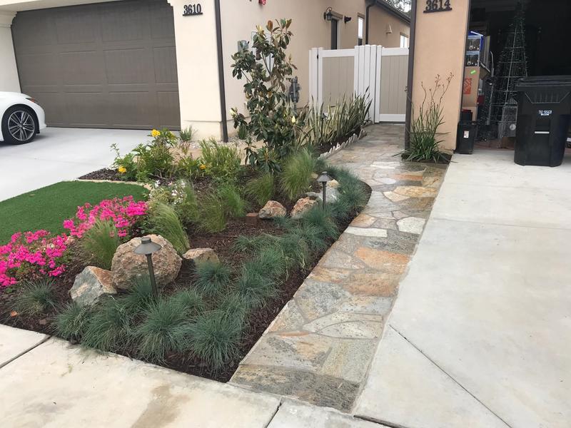 custom garage driveway flagstone walkway