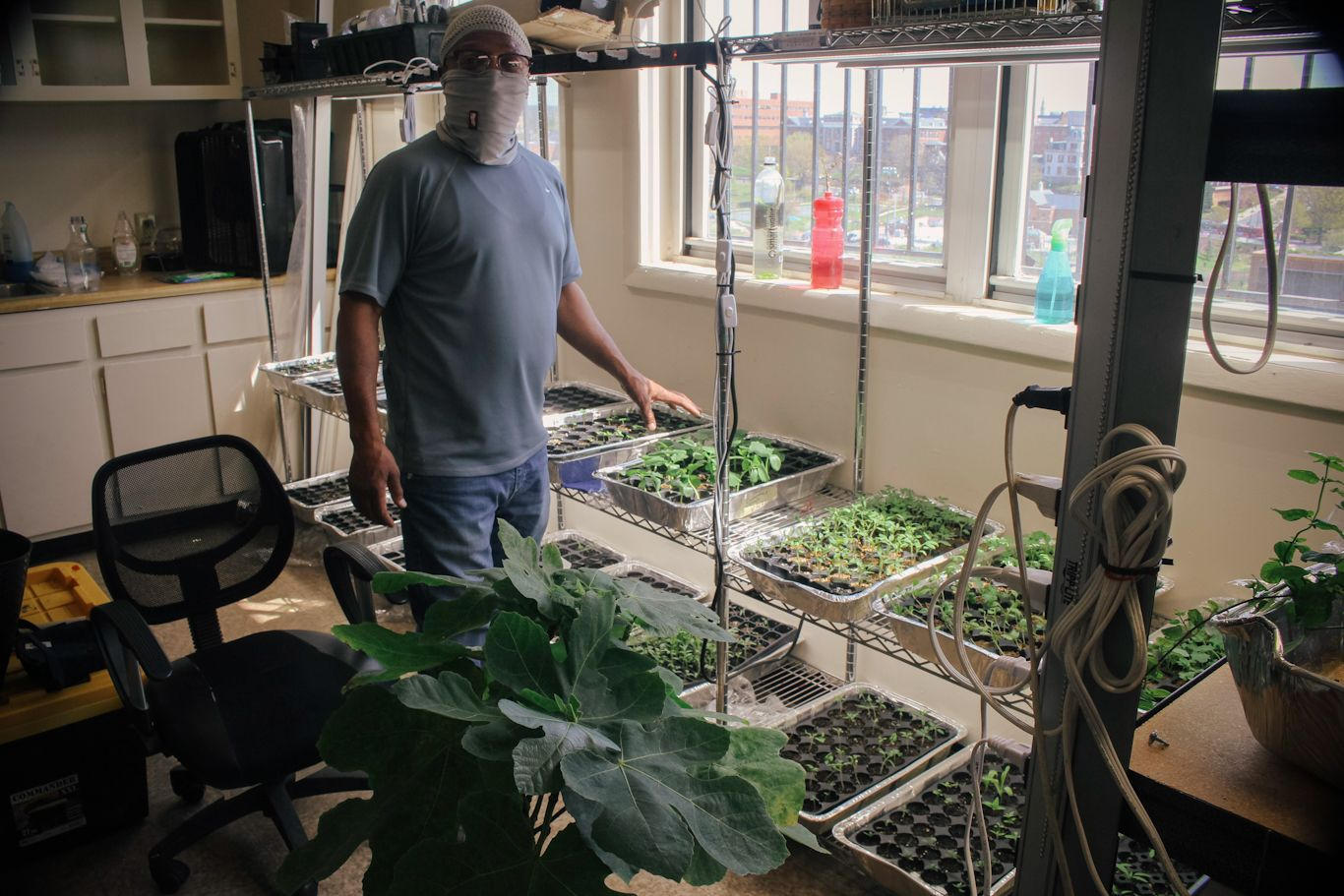 Boe in the seeding room standing among freshly sprouting herbs and veggies.