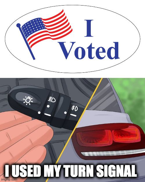 meme comparing voting to using your turn signal