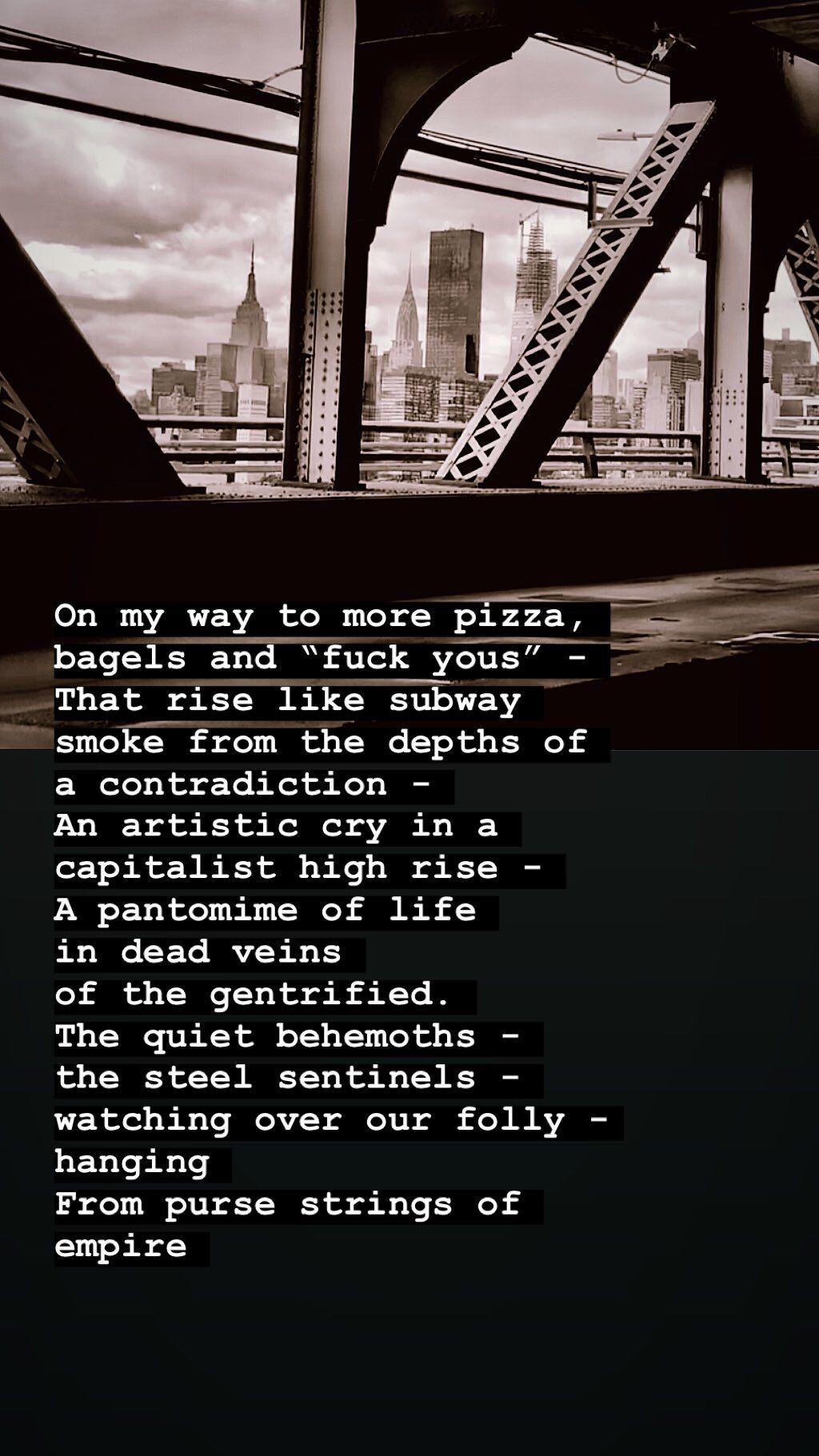 new york bridge with poetry