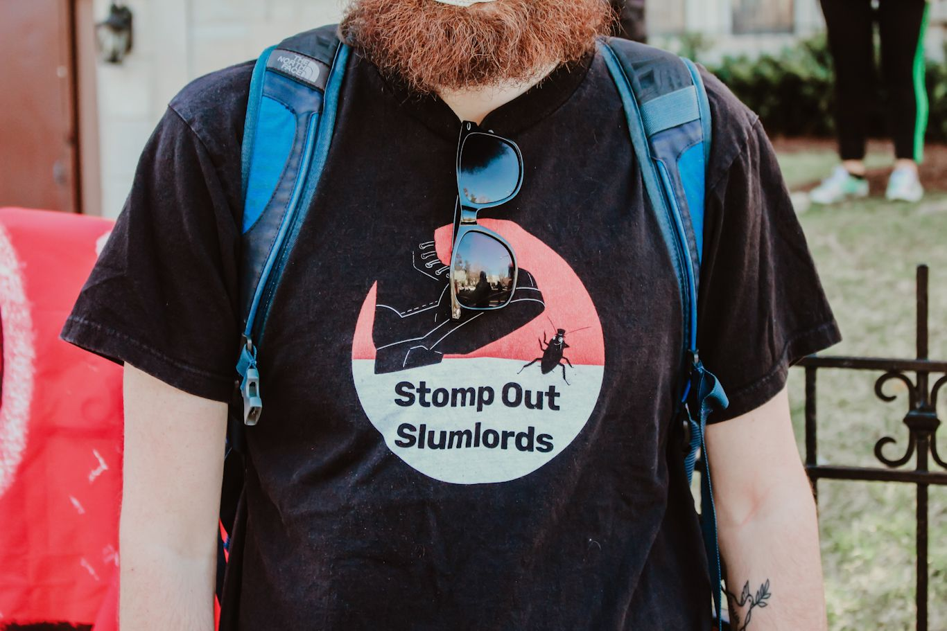 A member of the DC DSA's anti-eviction and tenant organizing campaign, Stomp Out Slumlords. Eleanor Goldfield | ArtKillingApathy.com