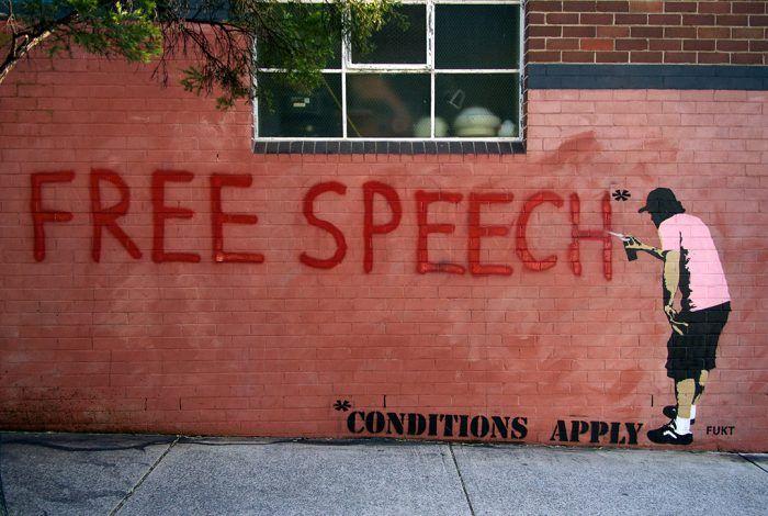 street art reading free speech, conditions apply