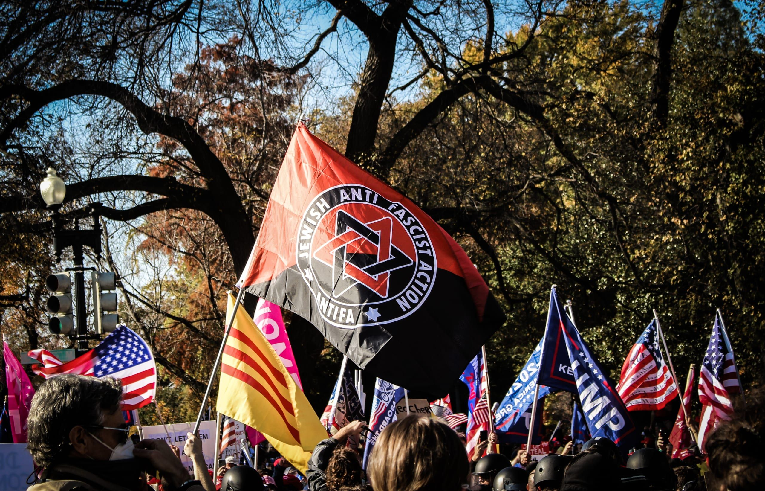 a rally against fascists