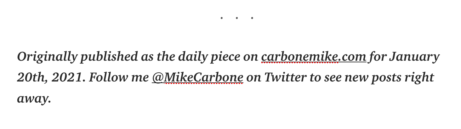 Referencing back to the carbonemike.com blog in the Medium post