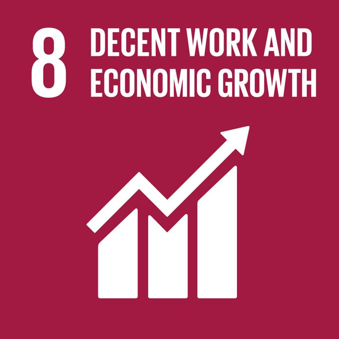 Bilde av FNs bærekraftsmål nr 8: decent work and economic growth