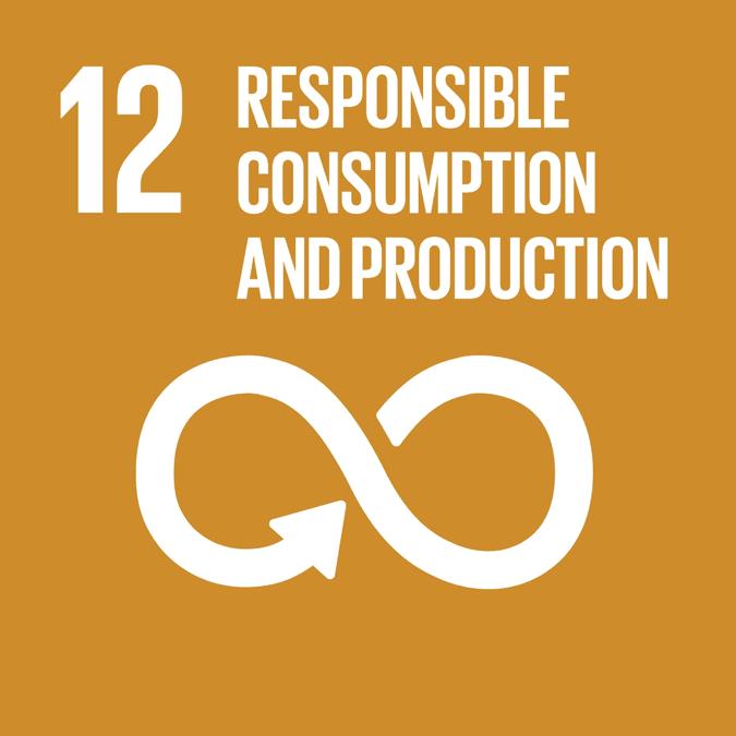 Foto av FNs bærekraftsmål nr 12: responsible consumption and production