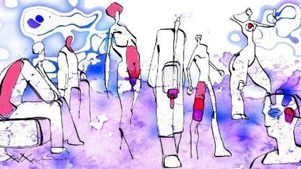 Et abstrakt maleri med bilder av ulike personer tegnet som strekfigurer. Bildet er i lilla, blå og rosa farge.