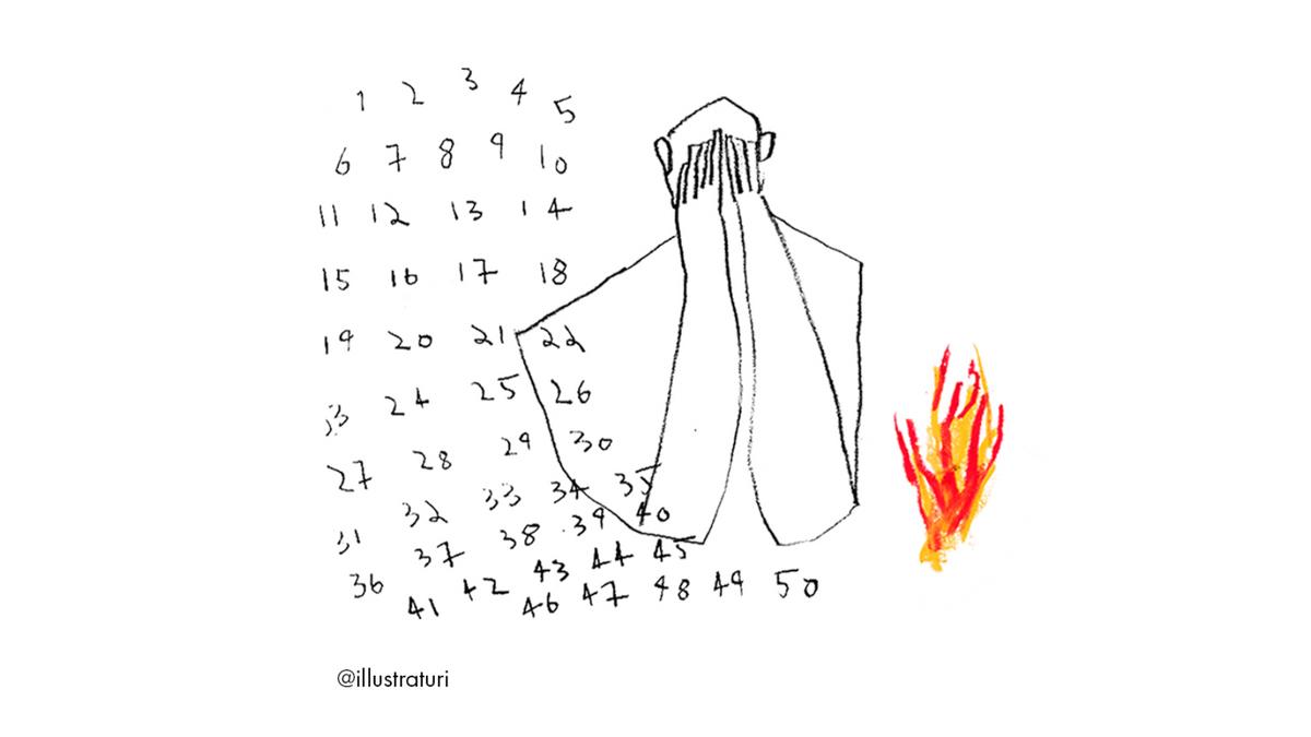 illustrasjonstegning av en person med hendene fremfor øynene og tallene 1-50 skrevet opp