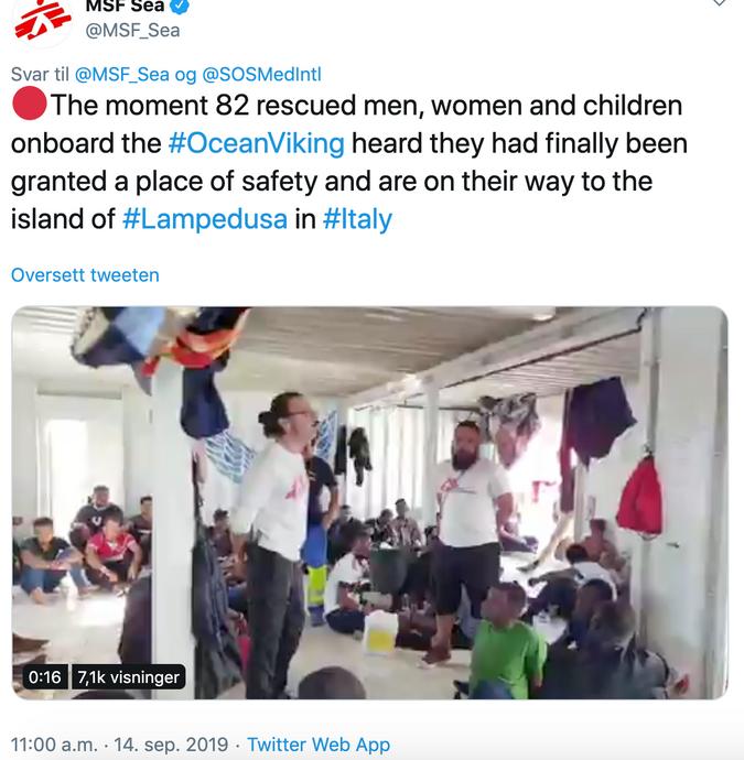 screenshot av et twitter innlegg av MSFsea organisasjonen