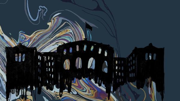 illustrasjon av stortinget som drukner i olje