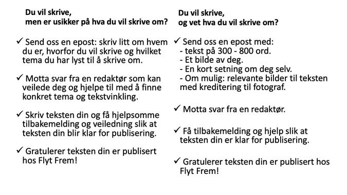 Steg for steg om å skrive for Flyt Frem. Vil du skrive? Send oss en email med:  Tekst på 300 - 600 ord.  Et bilde av deg.  En bio setning. Relevante bilder til artikkelen om mulig med kreditering til fotograf.