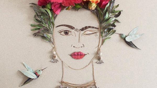 Blomsterkunst som et kvinnes ansikt