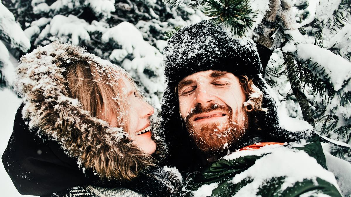 couple out in the snow