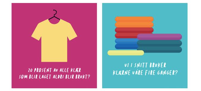 Bilde med gul t-skjorte med rosa bakgrunn: 20 prosent av alle klær blir laget blir aldri brukt. Bilde: Mange fargerike klær med turkis bakgrunn: Vi i snitt bruker klærne fire ganger
