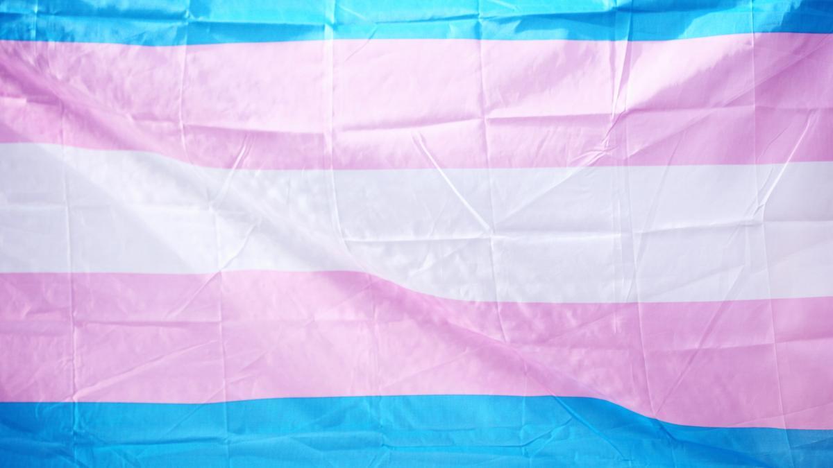 Transflagget med fargene blå, rosa og hvit.