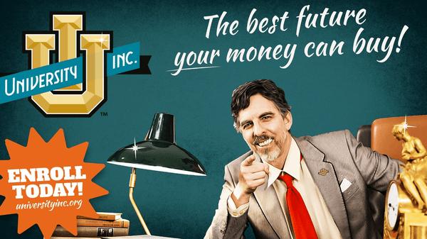 Kampanjebilde som illustrerer av penger kan kjøpe utdanning, men at det ikke garanterer kvaliteten.Kilde: Screenshot UniversityInc.org