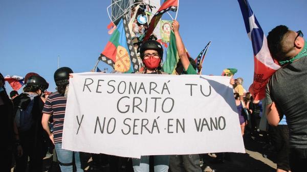 foto av demonstrasjonen i Chile