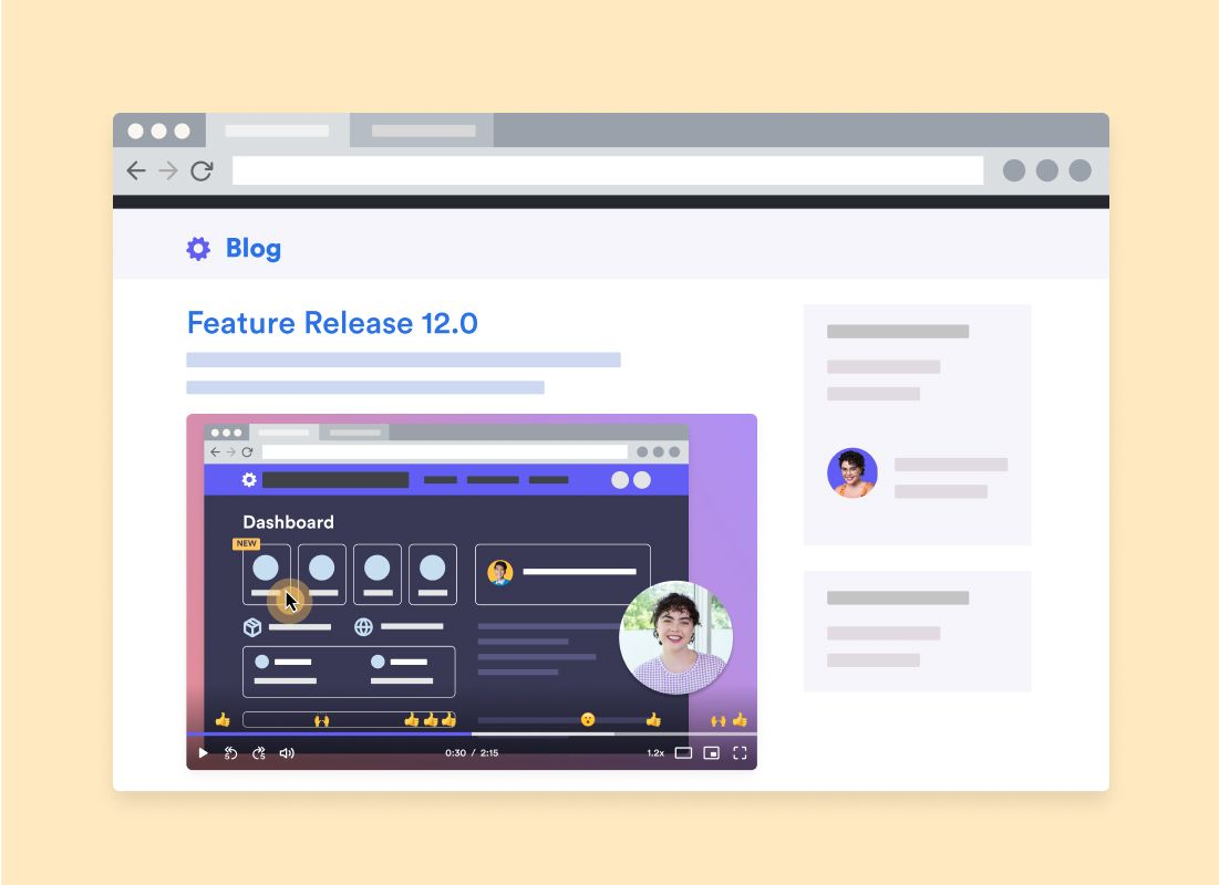 Window of blog with Feature Release 12.0 and embedded Loom of Dashboard