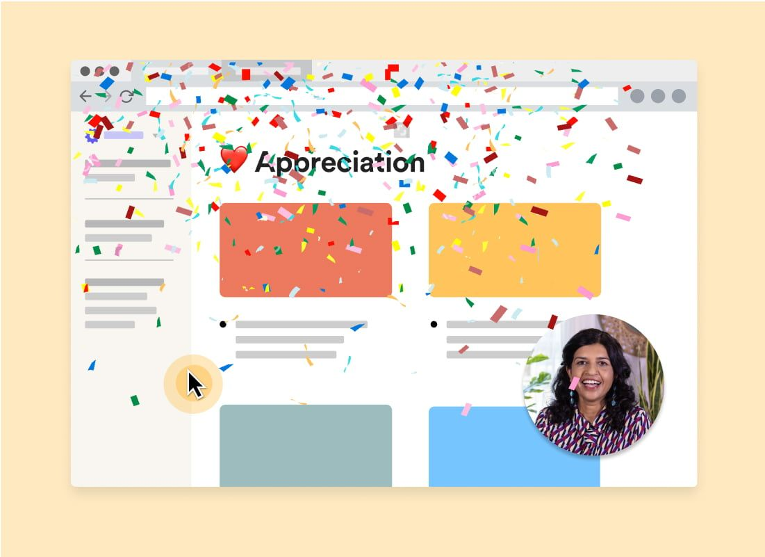 Confetti falling on document with Loom bubble of person showing their appreciation.