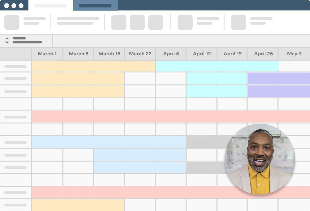 Window of schedule of projects with Loom face bubble explaining the schedule.