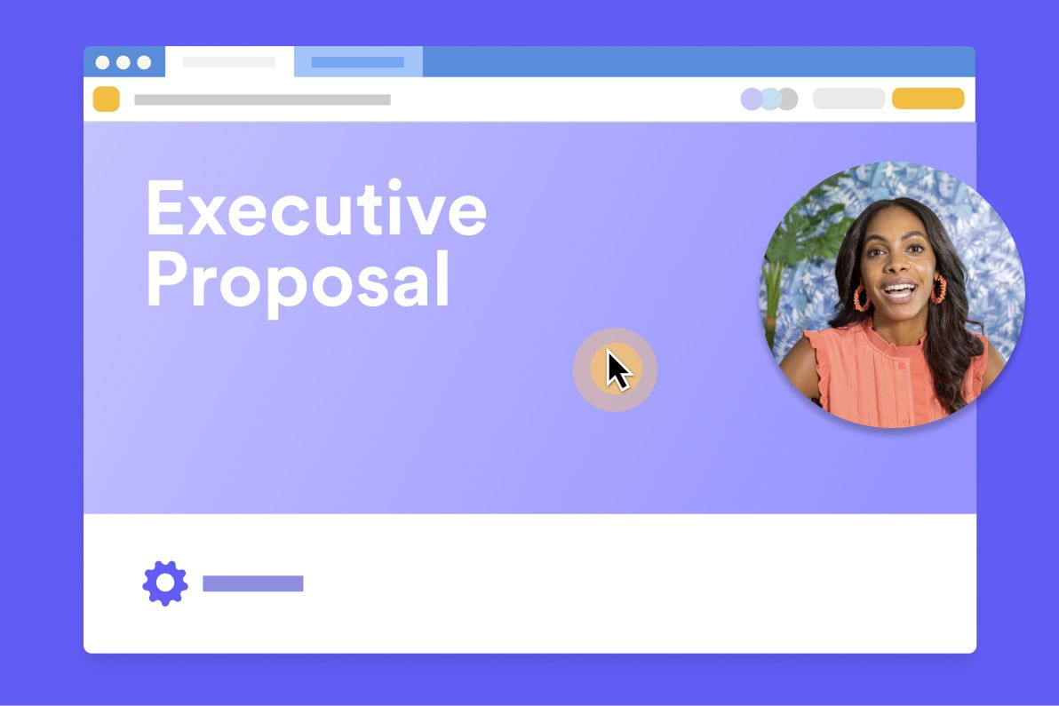 Dark-haired person in Loom bubble presenting Executive Proposal with cursor activated